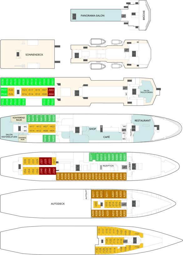 MS Vesteralen Deckplan