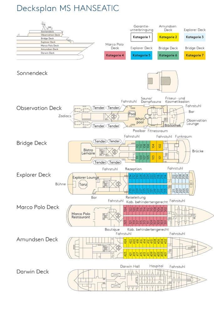 Deckplan MS Hanseatic