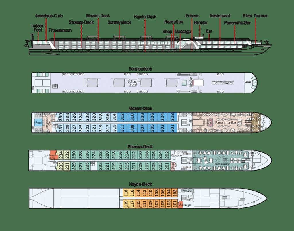 MS Amadeus Queen Deckplan