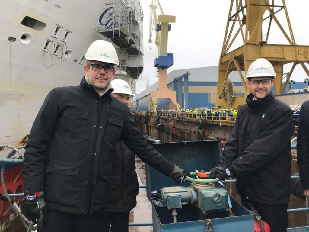 Costa Smeralda: Aufschwimmen und Dockflutung bei der Meyer Werft Turku