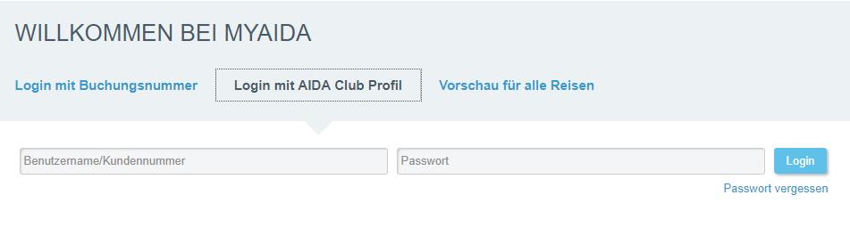 MyAIDA Login mit AIDA Club Profil