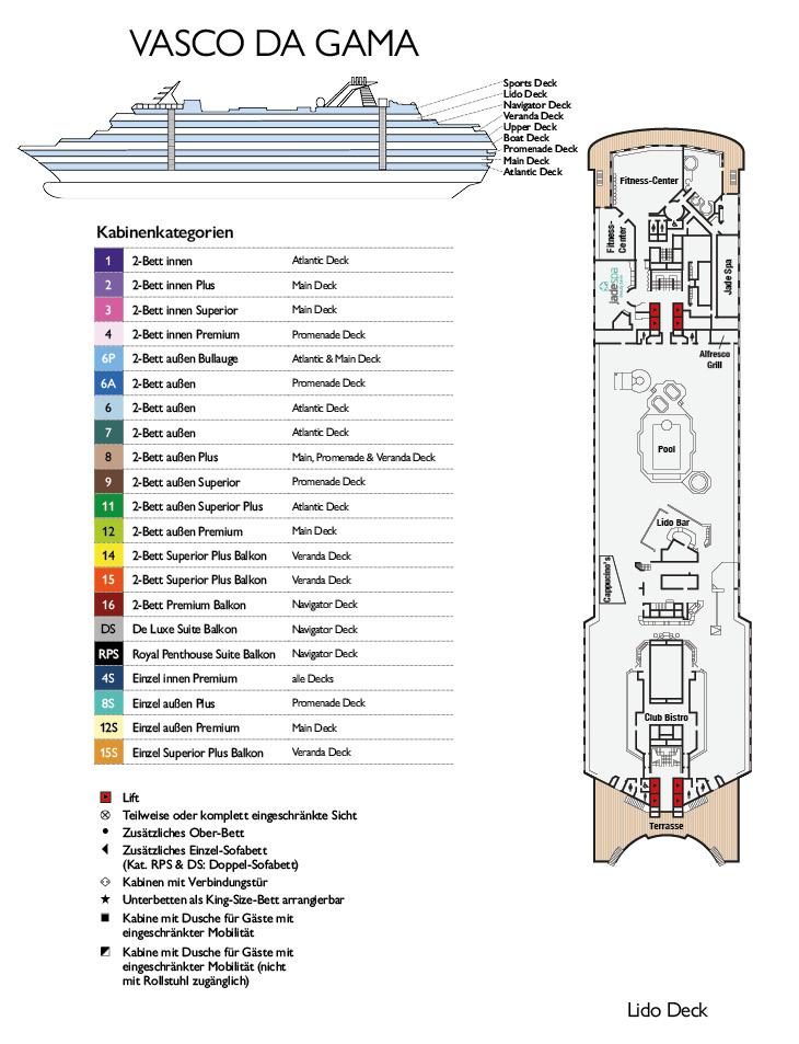 MS Vasco da Gama Deckplan Lido Deck