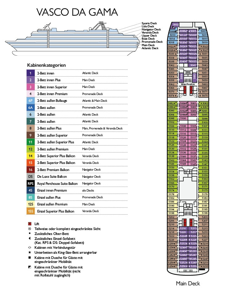 MS Vasco da Gama Deckplan Main Deck