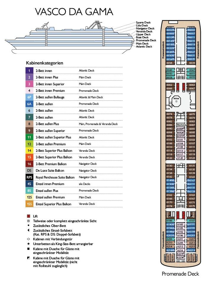 MS Vasco da Gama Deckplan Promenade Deck