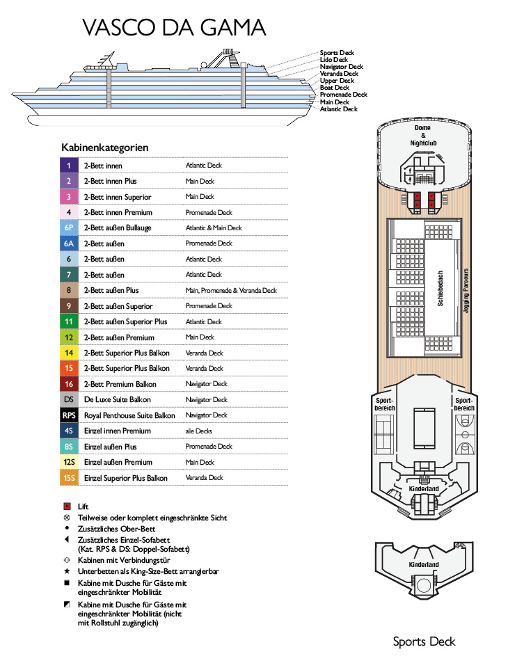 MS Vasco da Gama Deckplan Sports Deck