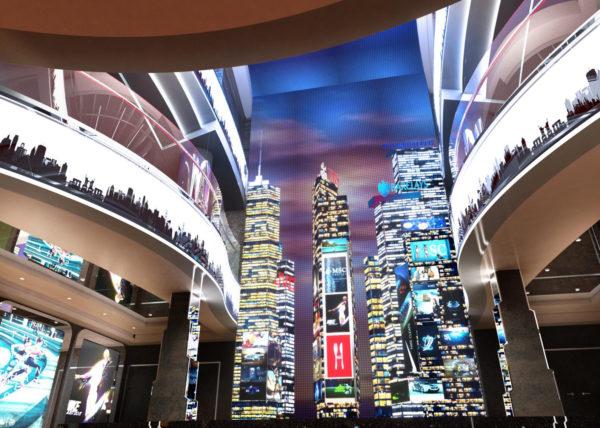 Am Times Square erhebt sich die ikonische Skyline New Yorks